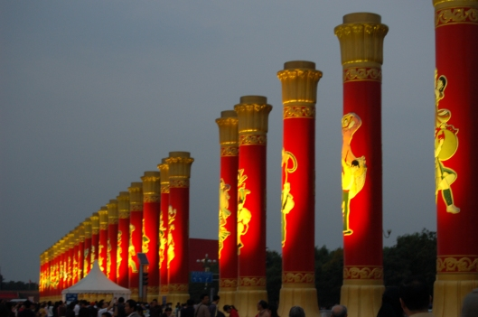 Tianenmen Square columns, National Day, 2009 (PRC's 60th anniversary)