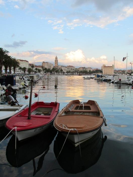 Split harbor at sunset, Split, Croatia