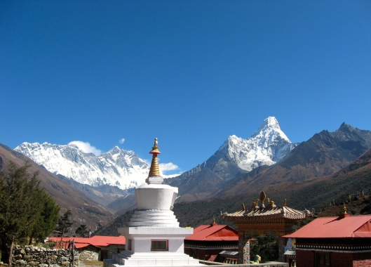 View from Tengboche Monastery - Lhotse, Mount Everest, and Ama Dablam