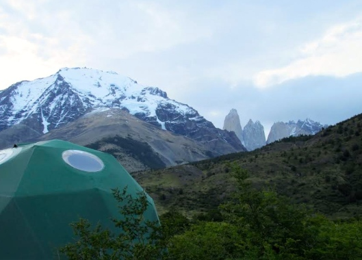 Eco-Camp dome with Las Torres in the distance